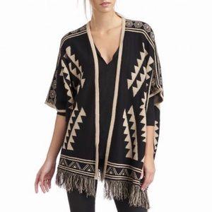 Sole Society 🌵 Black & Tan Tribal Kimono Sweater